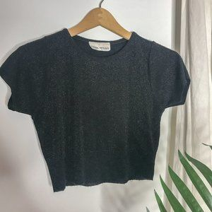 90s Vintage Black Metallic Crop Top Short Sleeve